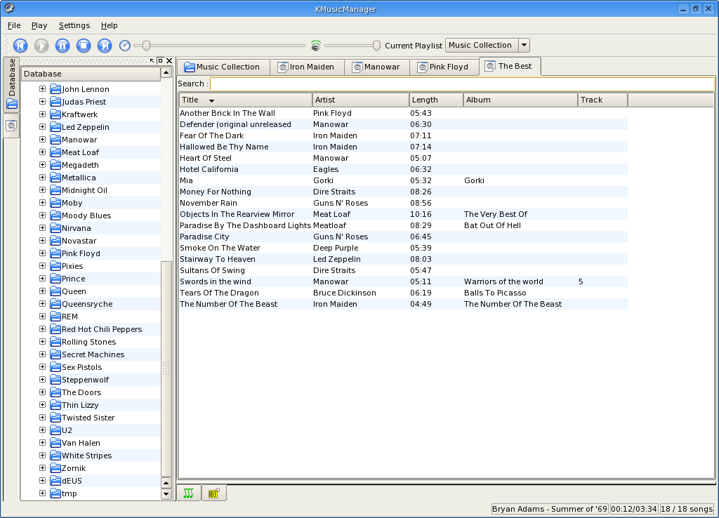 KMusicManager's main window